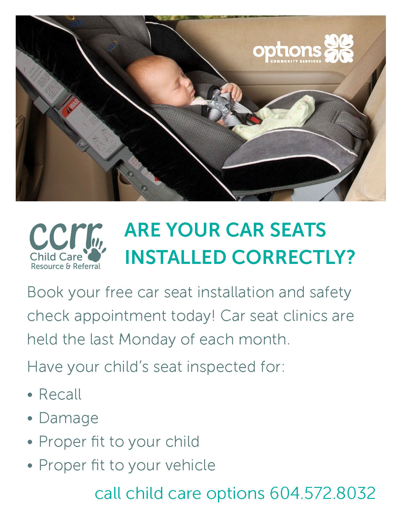Car Seat Clinics - Child Care Options