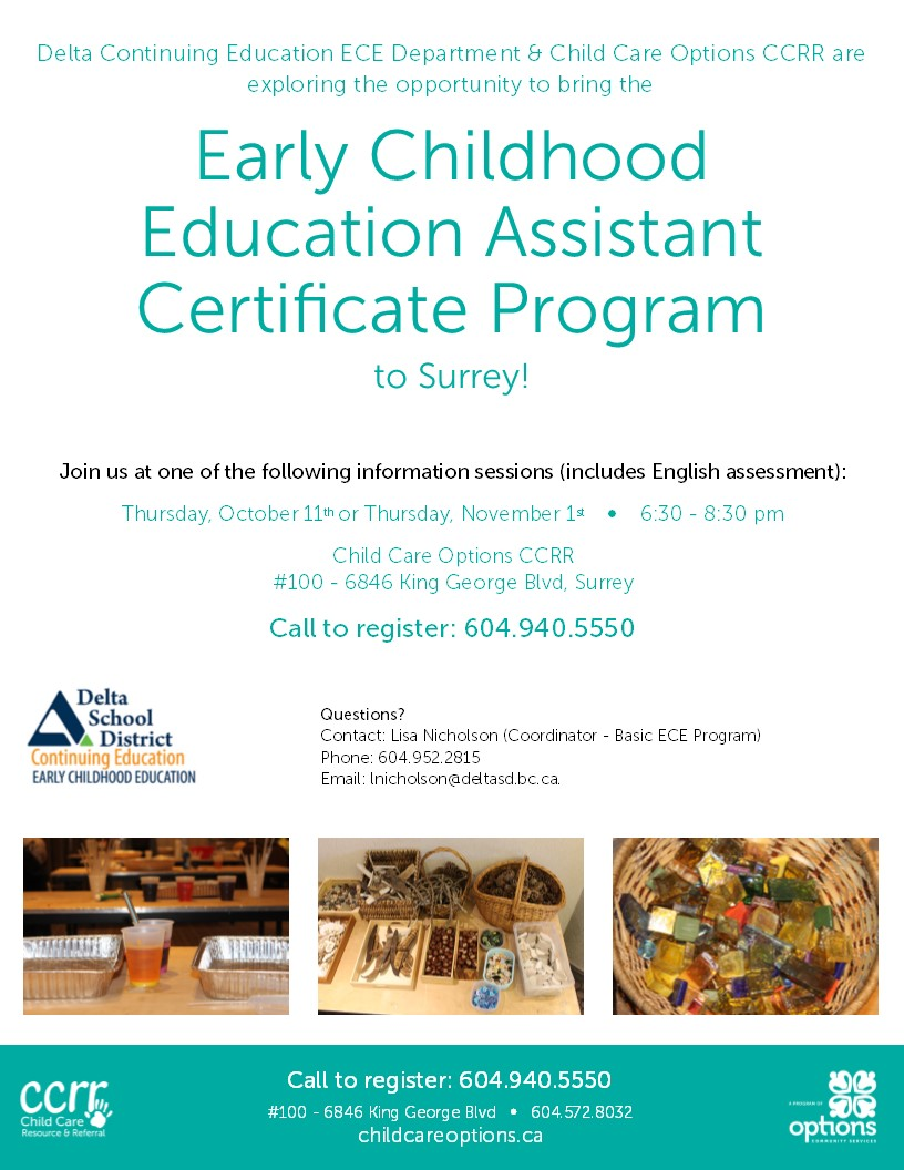Ecea Information Sessions Child Care Options